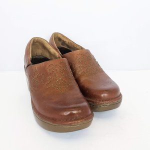 Ariat Brown Leather Expert Clogs Gold Detail 7